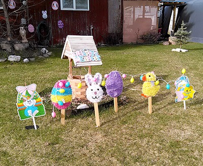 The yard of a home in Barriere is all decked out with Easter rabbits and chicks